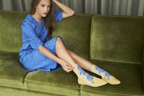 Gul/blå eller sølvkoks mønstrede sokker MP Denmark - 77603