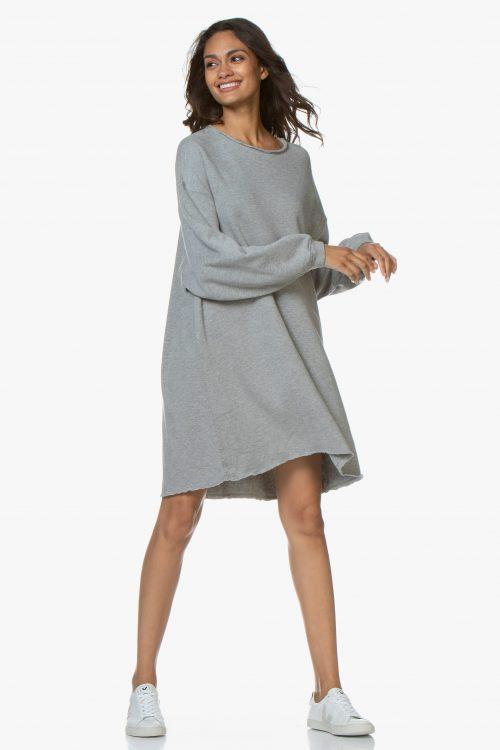 Grå tøff bomull/modal kjole med råkant American Vintage - ret 73