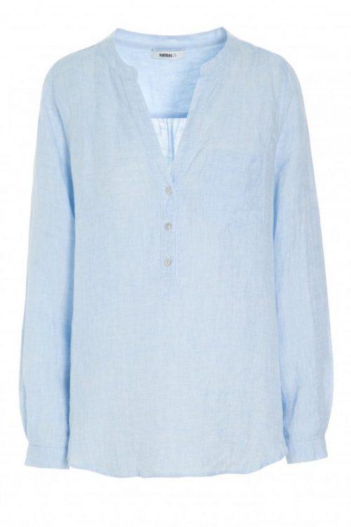 Light blue linskjorte med kinahals Katrin Uri - 426 serina linen shirt