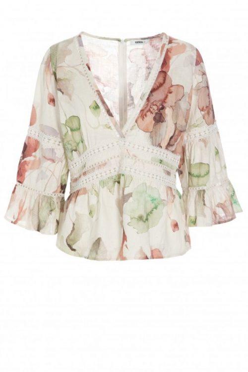 Grønnrosamønstret linbluse med engelsk blonde Katrin Uri - 433 the artist belize blouse