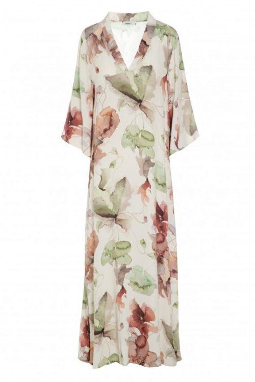 Grønnrosamønstret silke/viskose lang kjole med vifteerm Katrin Uri - 618 the artist desert long dress