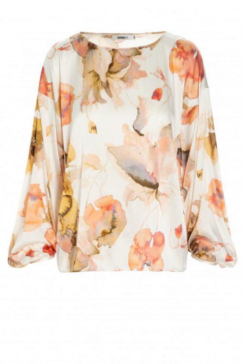 Orangemønstret silke/viskose blusetopp med poserm Katrin Uri - 434 the artist athena blouse