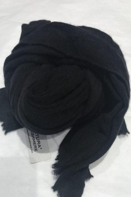 Black melange elastisk og superlett 'Luxury' 100% italiensk cashmere skjerf Natura Cashmere - luxury scarf 100*160 cm