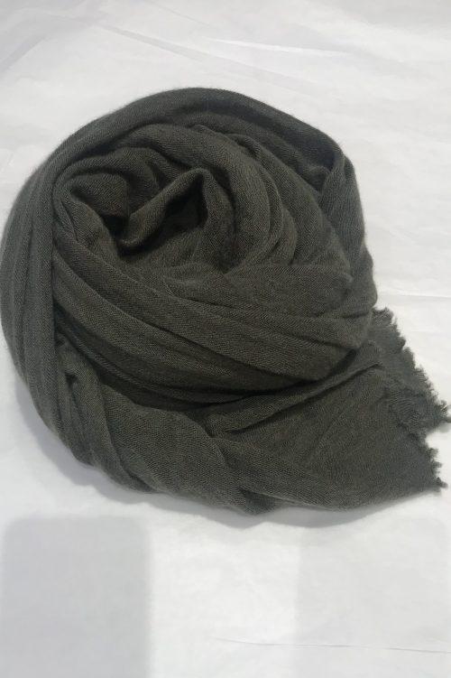 Army green elastisk og superlett 'Luxury' 100% italiensk cashmere skjerf Natura Cashmere - luxury scarf 100*160 cm