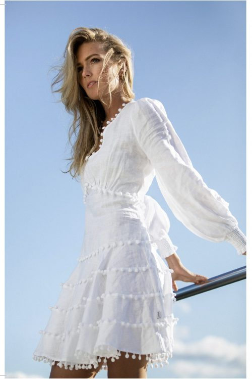 Hvit linkjole med pong pong Ella & Il - Eline linnen dress