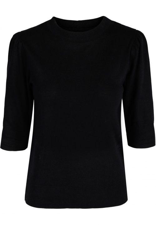 Sort eller beige myk modal/bomull gensertopp med 3/4 erm Ella&Il - Vilde sweater