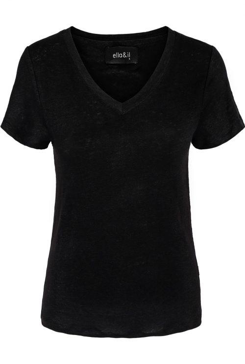 Beige eller sort linjersey t-shirt Ella & Il - Ana linen tee