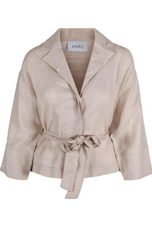 Beige lin jakke med belte Ella&Il - Marita linen shirt