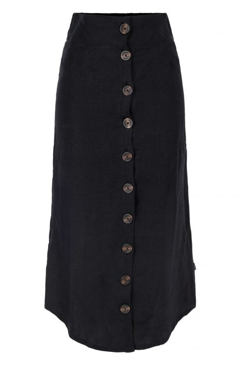 Beige eller sort lin langt skjørt med knapper Ella & Il - Anea linen skirt
