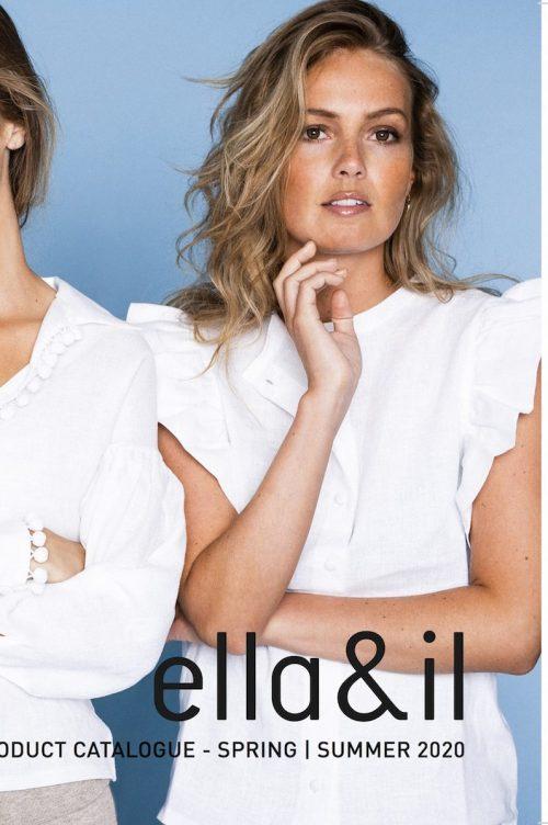 Hvit lin blusetopp med korte ermer med små rysjer Ella&Il - Pauline linen shirt