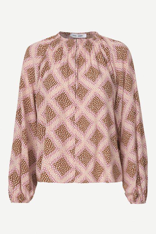 Rosabrunrutet viskose bluse med poseerm Samsøe - 10458 kaja blouse