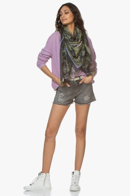 Ecru og lavendel ullmix cardigan med ytre sømmer American Vintage - dam222