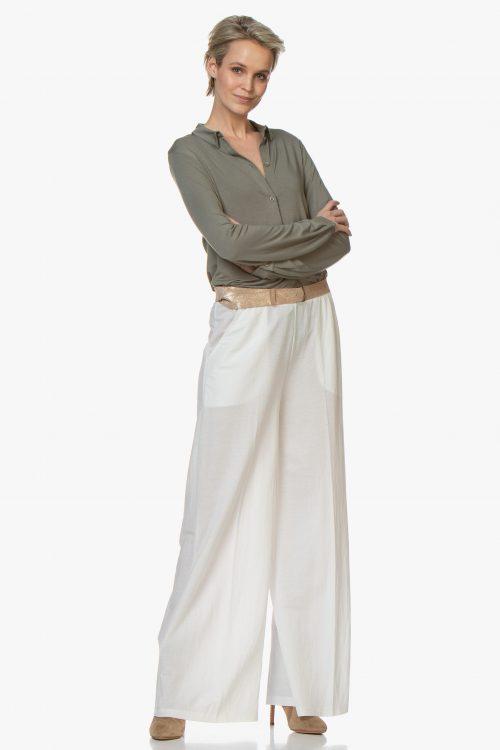 Dus pudder, sort, marine, hvit, kaki viskose skjorte Majestic Filatures - m001 fch 028