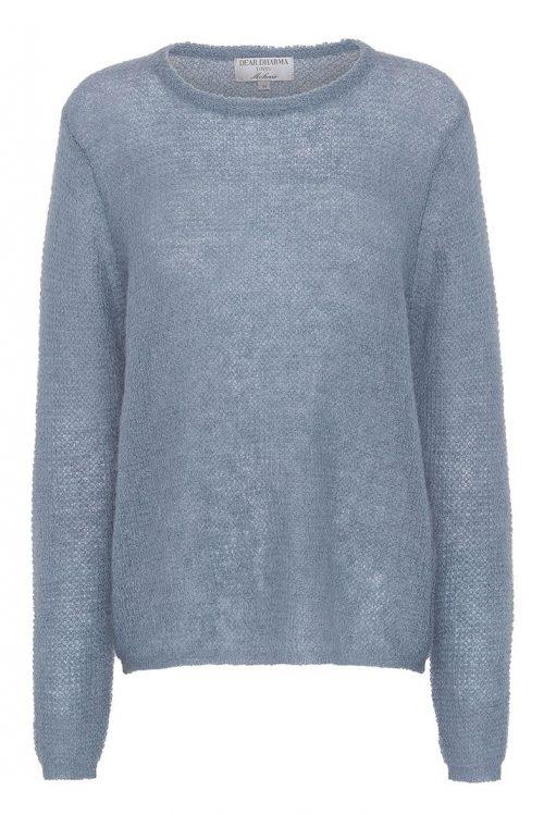 Dus rosa eller denim blue tynnstrikket mohair mix basic genser Dear Dharma - new maddy