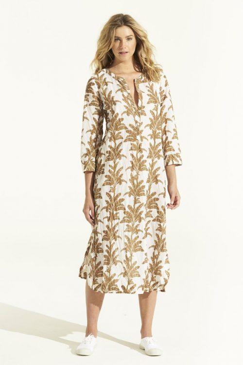 Hvis med oker mønstret lang kjole OneSeason - cruise dress white