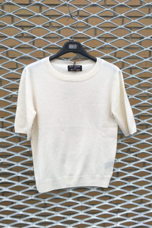 Broken white, camel og khakimelert cashmere topp med kort erm Dear Dharma - Marthe tee