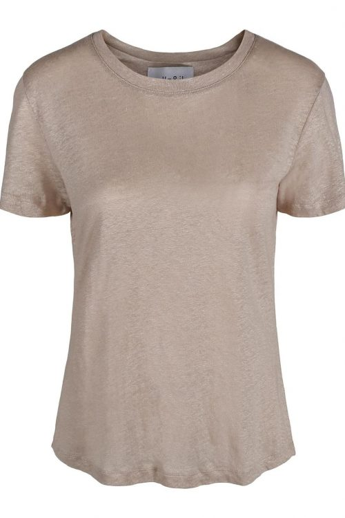 Hvit eller beige t-shirt i myk og god lin Ella&Il - jane linen tee