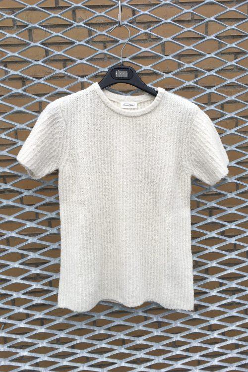 Ecru eller gammelrosa organisk bomullmix kortermet genser American Vintage - cut242
