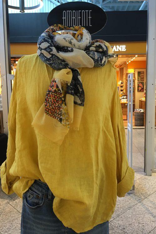 Grønn, khaki, gul, hvit, denimblå, rød eller korallorange oversized italiensk linskjorte Puro Lino