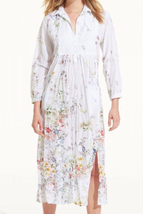Hvit med duse blomster lang bomull skjortekjole OneSeason - Camille white