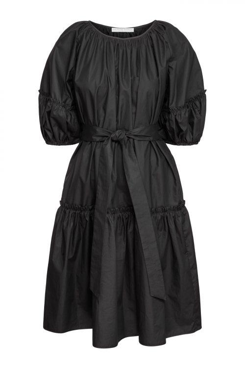 Sort trendy poplin kjole med voluminøse ermer og belte Cathrine Hammel - 254.120 midi short sleeve dress