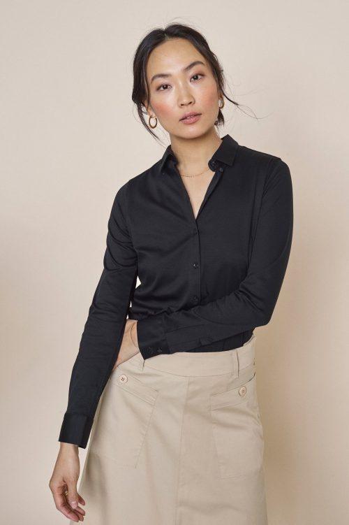 Hvit eller sort jersey stretch skjorte Mos Mosh - 131660 tina jersey shirt