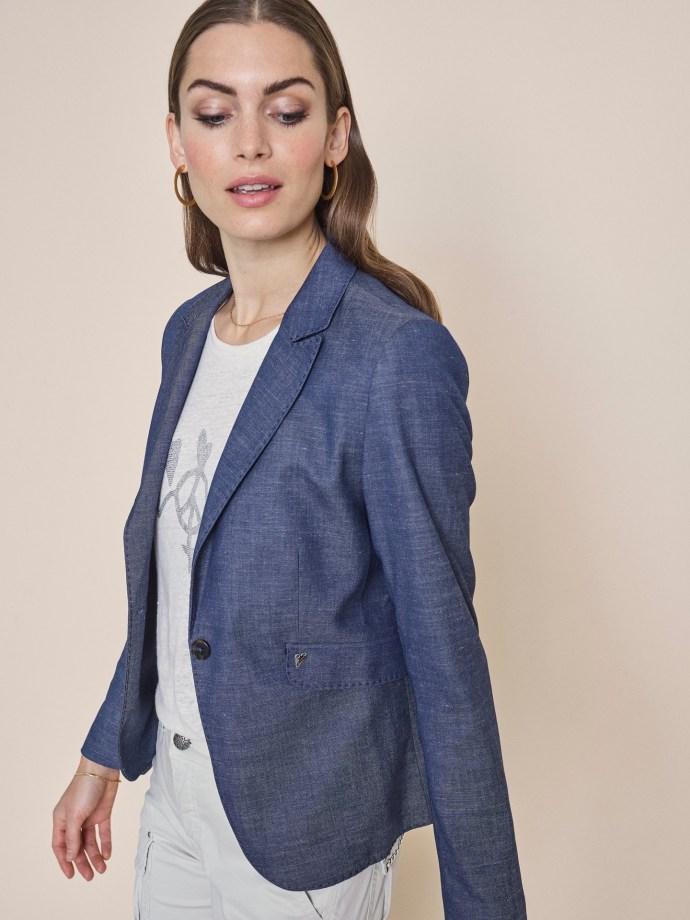 Jeansblå dressjakke i trendy vevet kvalitet Mos Mos - 132201 blake marly blazer