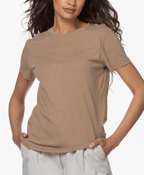 Hvit, camel eller vasket korall 100% organisk bomull t-shirt American Vintage - vegi 54