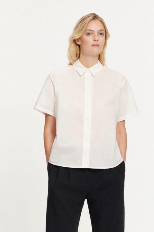 Hvit bomull skjorte med kort erm Samsøe - 10451 mina shirt ss