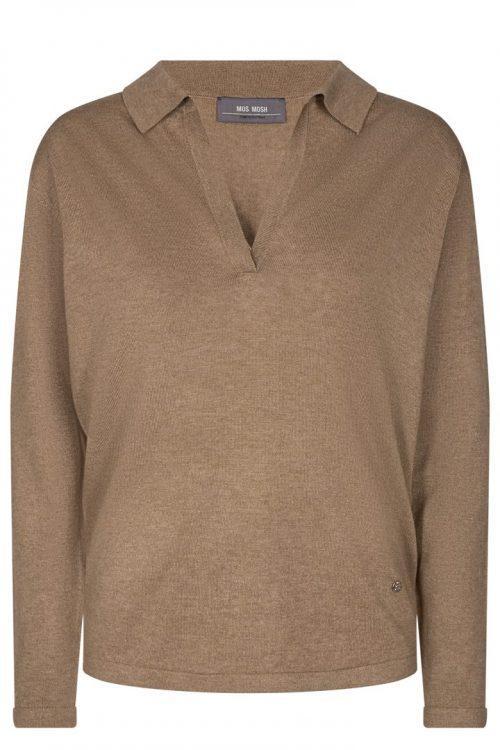 Gråmelert, sort eller camel strikket viskose/bomull skjorte Mos Mosh - 134500 Wylie Knit