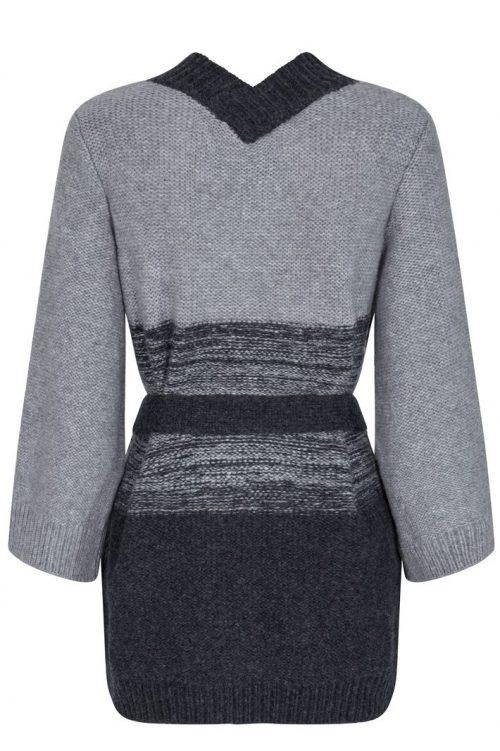 Tricolore grå flettet lang cardigan med belte Mos Mosh - 134751 caitelin cabel