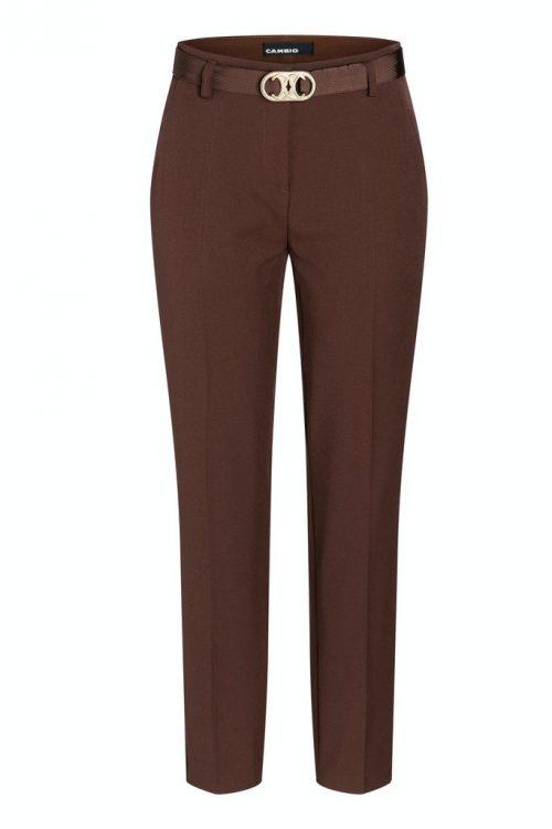 Cherry wood (rust) eller sort bukse med stikklommer og belte Cambio - 6047 0392-10 selina 31