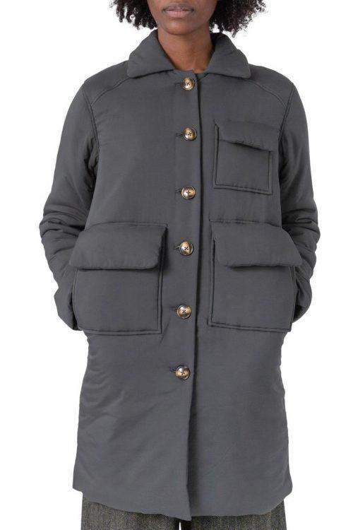 Grønn (ikke grå) ytterjakke med 3 lommer Cathrine Hammel - 6512 light duvett long jacket