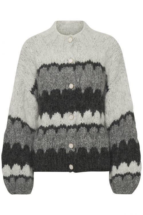 Antrasit melange mønstret alpakkamiks cardigan med trendy poseerm Gestuz - 10904806 jess cardigan