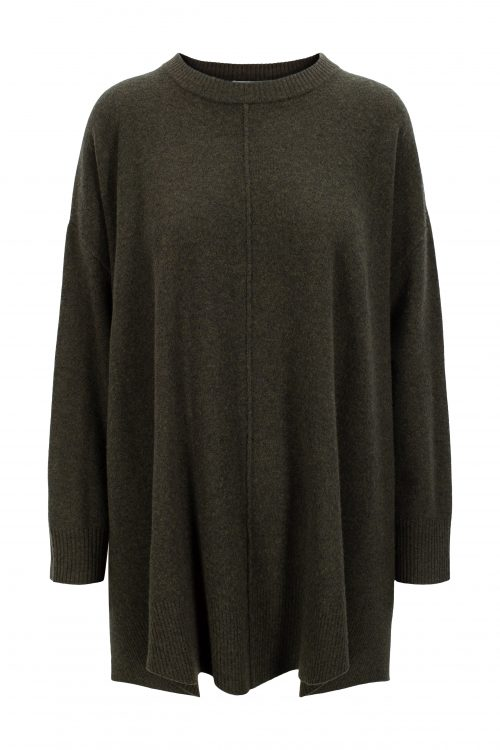 Mosegrønn 100% merino ponchogenser Katrin Uri - 303 annabel knit poncho