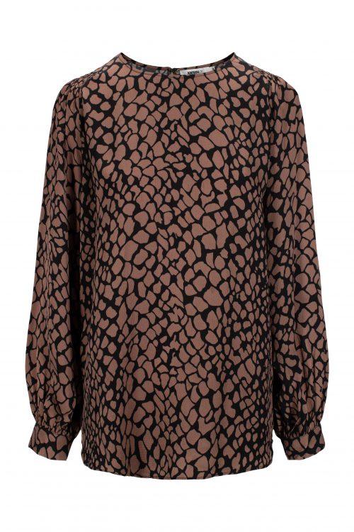 Blue shadow eller brunette grafisk hamret viskose bluse Katrin Uri - 423 blaire abraham blouse