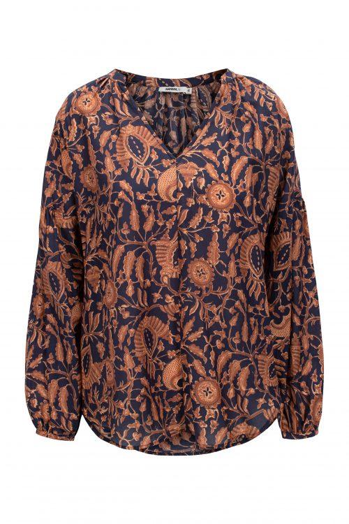 Navy tanderine cotton-voile bluse Katrin Uri - 427 indiana batic blouse