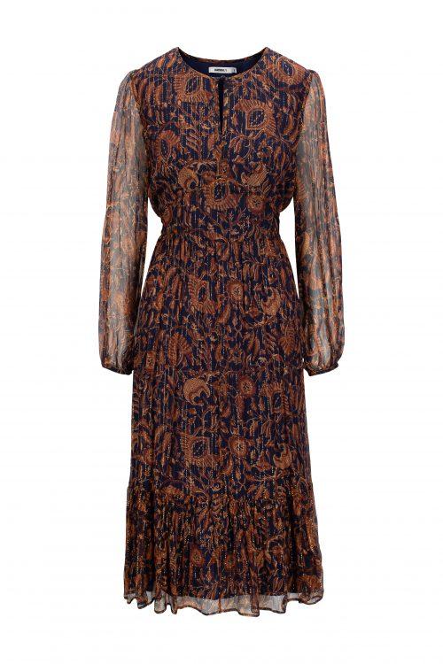 Navy tangerine midi silkekjole med silketråder og kappe Katrin Uri - 632 erica batik dress
