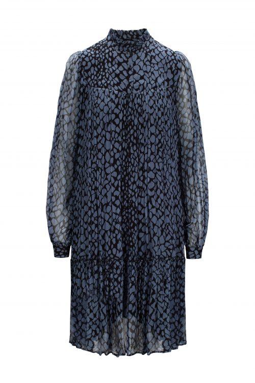 Blue shadow grafisk crinkle viskose kjole Katrin Uri - 621 leonora abraham dress