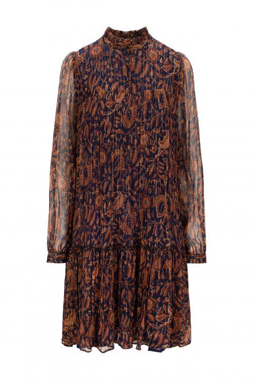 Navy tanderine 100% silke chiffon kjole med gulltråder Katrin Uri - 631 leonora batik dress