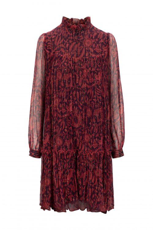 Navy tanderine eller burnt rose 100% silke chiffon kjole med gulltråder Katrin Uri - 631 leonora batik dress