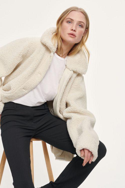 Brun (ikke hvit) teddyjakke Samsøe - 12856 aylin jacket