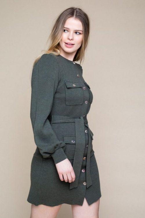 Sort (ikke grønn) 100% merino trendy strikkekjole med knapper og belte Ella&Il - sissi