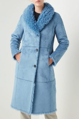 Smoke blue faux fur lammy kåpe Beaumont - BM5570203