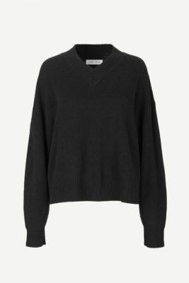 Beigemelert eller sort 100% ull v-genser Samsøe - 12758 amaris v-neck