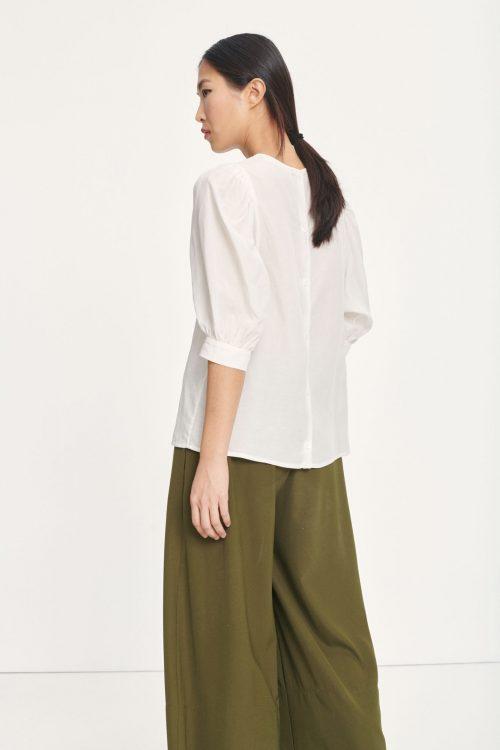 Ecru tencel bluse med pufferm Samsøe - 12771 celestine blouse
