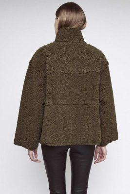 Army green boxy bonded faux shearling jakke Stand - hazel short