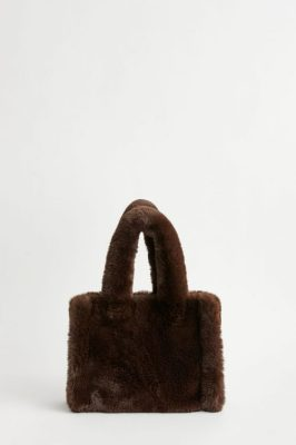 Mini tote soft faux fur bag Stand - liz bag brown