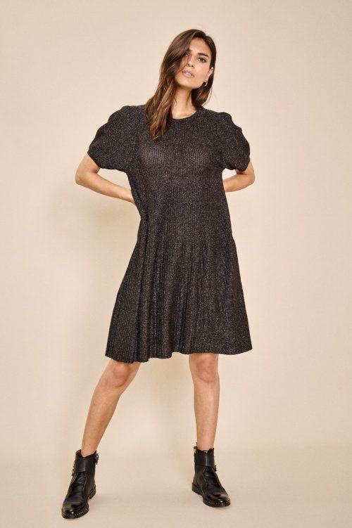 Sort kjole Mos Mosh - 136300 meta knit dress