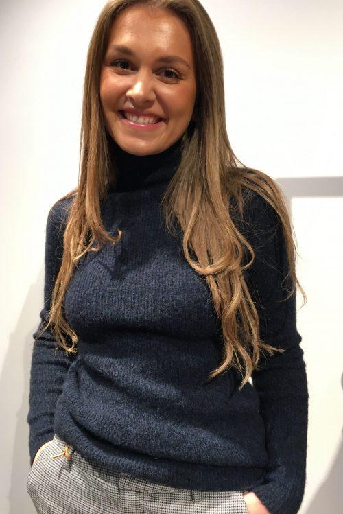Beigemelert eller indigoblå alpakkamix pologenser Cathrine Hammel - 1692 Aspen ribbed turtleneck